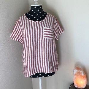 Artisan NY 100% Linen striped pink blouse sz SM